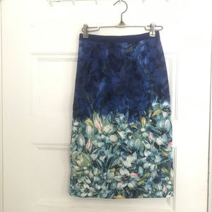 Anthro Moulinette Soeurs Blue Floral Pencil skirt